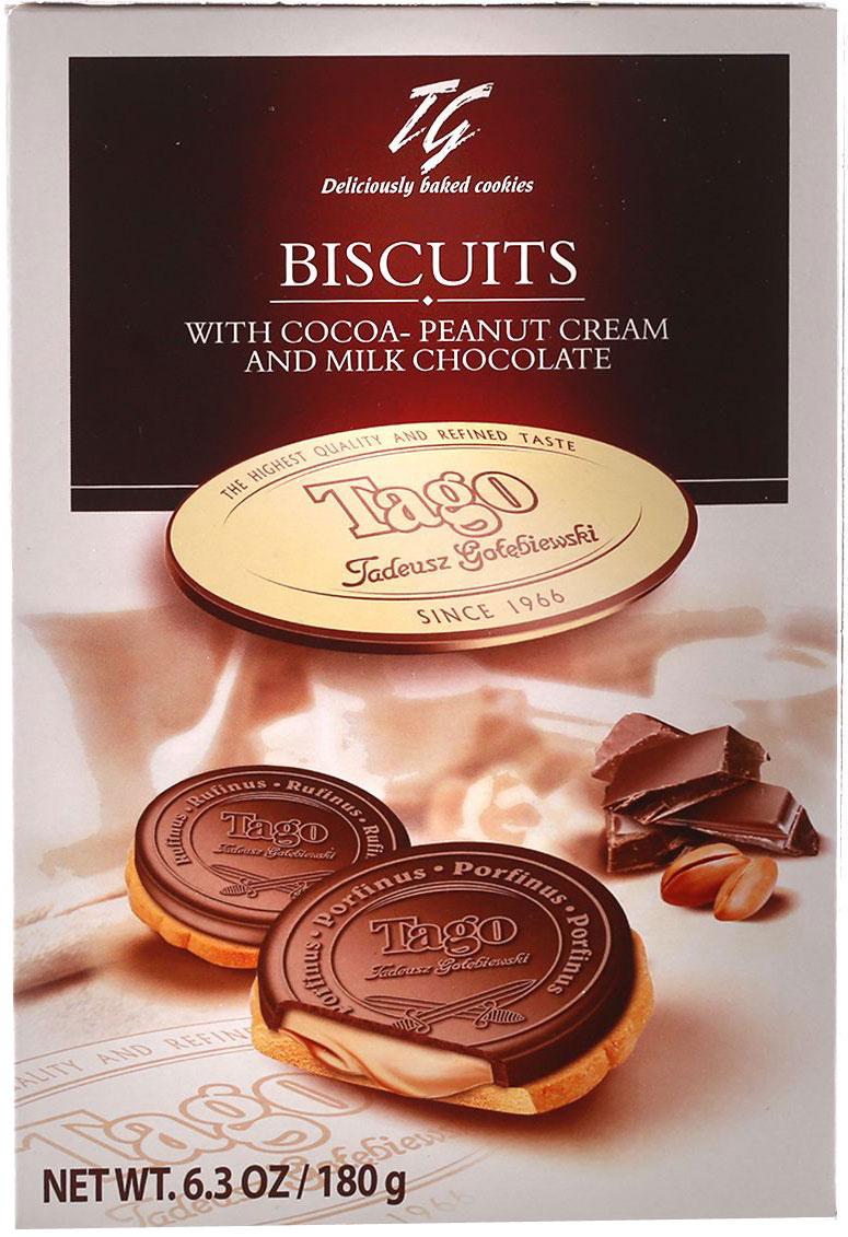Tago Кардиналки какао-ореховые Печенье, 180 г3.34.06Печенье Кардиналки какао-ореховые не оставят равнодушными - начинка имеет нежный ореховый вкус и мягкую консистенцию.