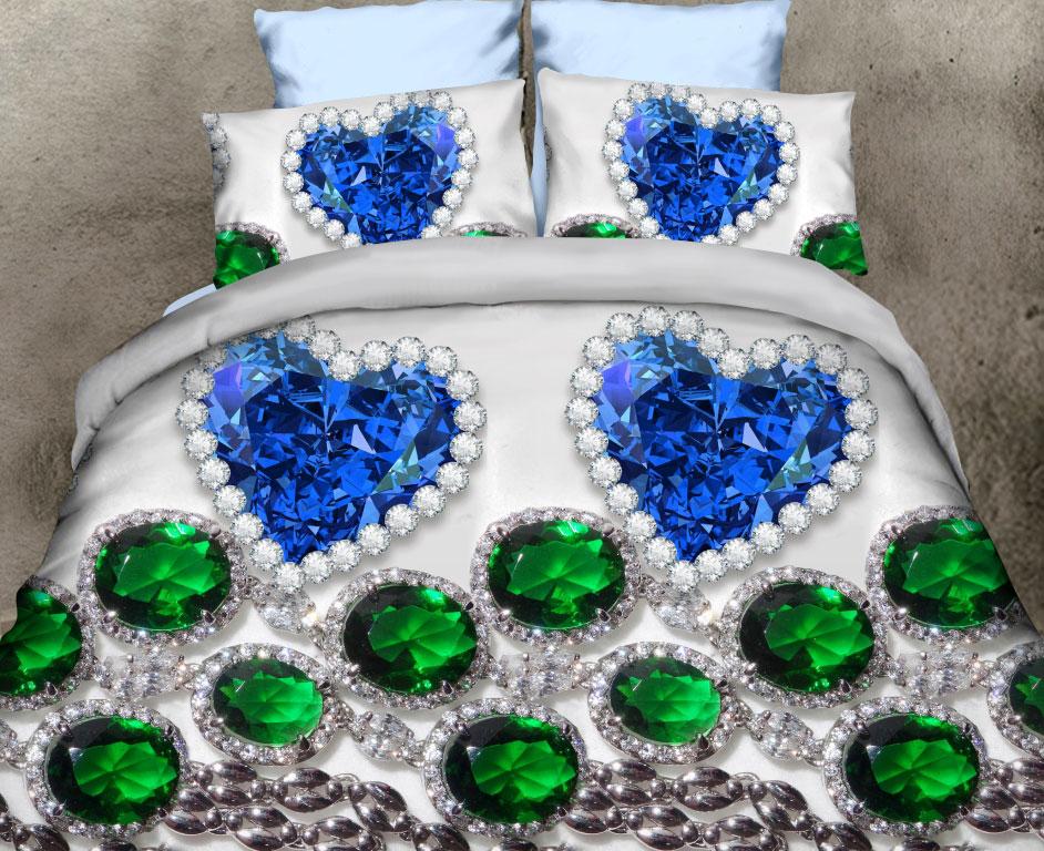 Комплект белья ROKO Изумруды, евро, наволочки 70х70, цвет: серый, синий, зеленый115949Комплект белья ROKO состоит из простыни, пододеяльника и 2 наволочек. Для производства постельного белья используются экологичные ткани высочайшего качества. Поплин - это тонкая и легкая хлопчатобумажная ткань высокой плотности полотняного переплетения, сотканная из пряжи высоких номеров. При изготовлении поплина используются длинноволокнистые сорта хлопка, что обеспечивает высокие потребительские свойства материала. Несмотря на свою утонченность, поплин очень практичен – это одна из самых износостойких тканей для постельного белья.