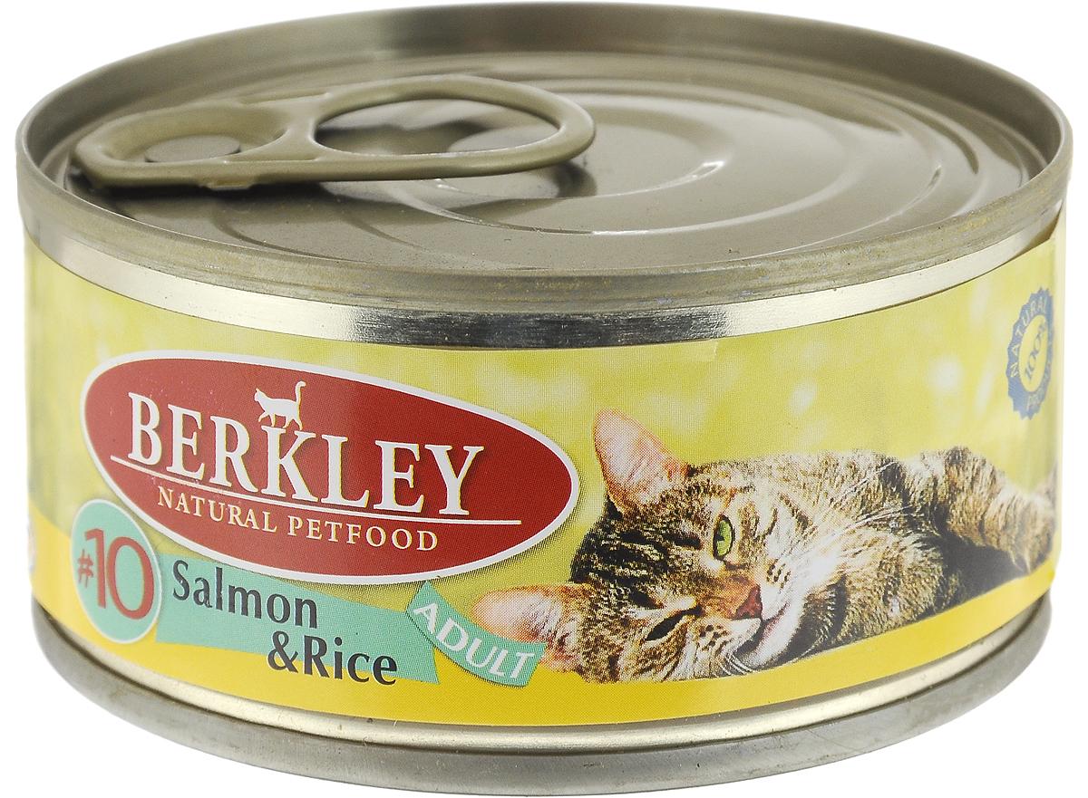 Консервы для кошек Berkley №10, лосось с рисом, 100 г57470Berkley №10 - это полноценное консервированное питание для кошек. Содержит нежное мясо лосося наилучшего качества с добавлением риса в ароматном бульоне. Консервы приготовлены исключительно из натурального сырья. Не содержат сои, искусственных красителей, ароматизаторов и консервантов. Товар сертифицирован.