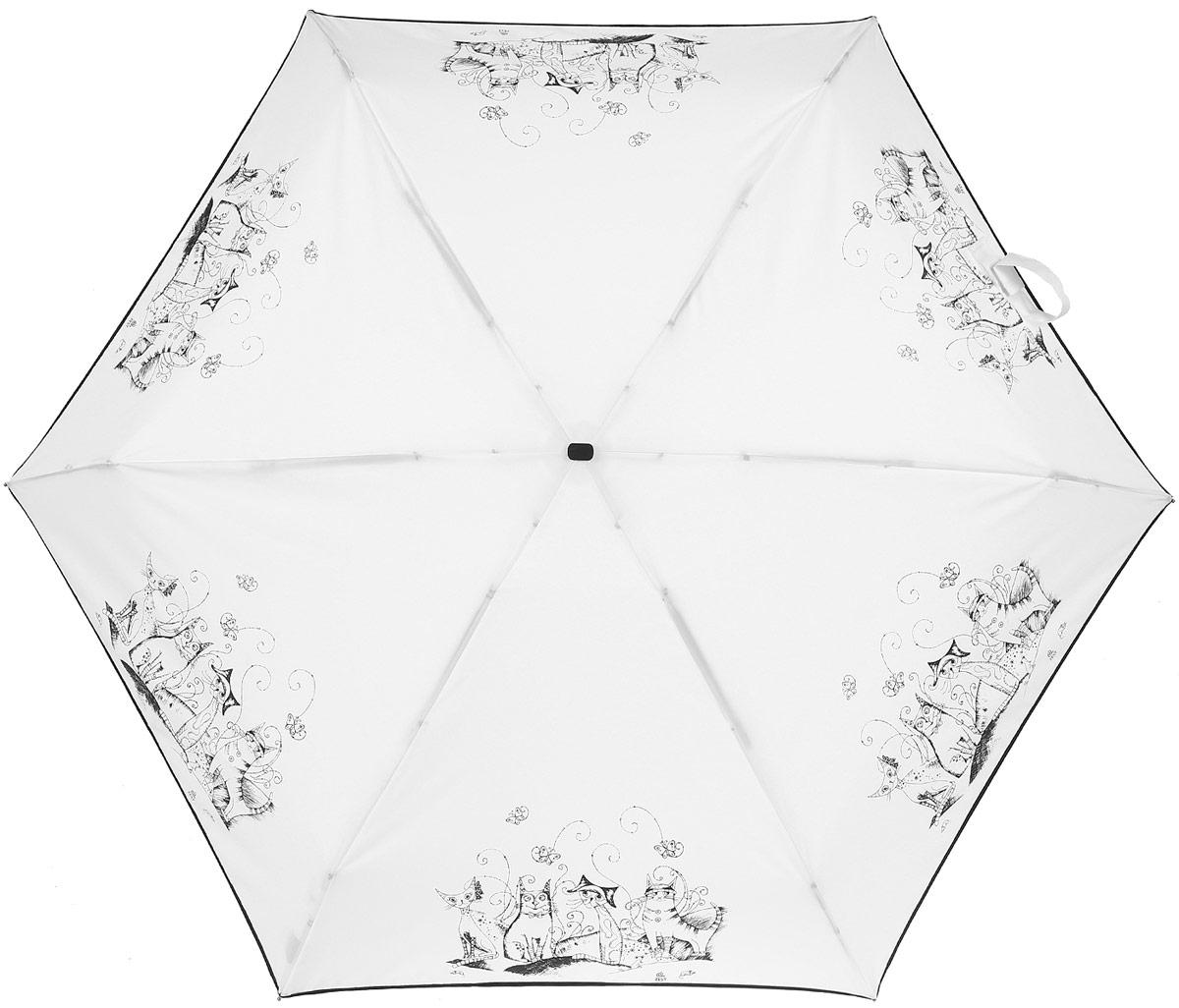 Зонт женский Zest, механический, 5 сложений, цвет: черный, белый. 25569-00503.7-12 navyКомпактный женский зонт Zest выполнен из металла, пластика и оформлен ярким принтом.Каркас зонта выполнен из шести спиц на прочном стержне. На концах спиц предусмотрены металлические элементы, которые защитят владельца от травм. Купол зонта изготовлен прочного полиэстера. Закрытый купол застегивается на липучку хлястиком. Практичная рукоятка закругленной формы разработана с учетом требований эргономики и выполнена из пластика.Зонт складывается и раскладывается механическим способом.Такой зонт не только надежно защитит от дождя, но и станет стильным аксессуаром.