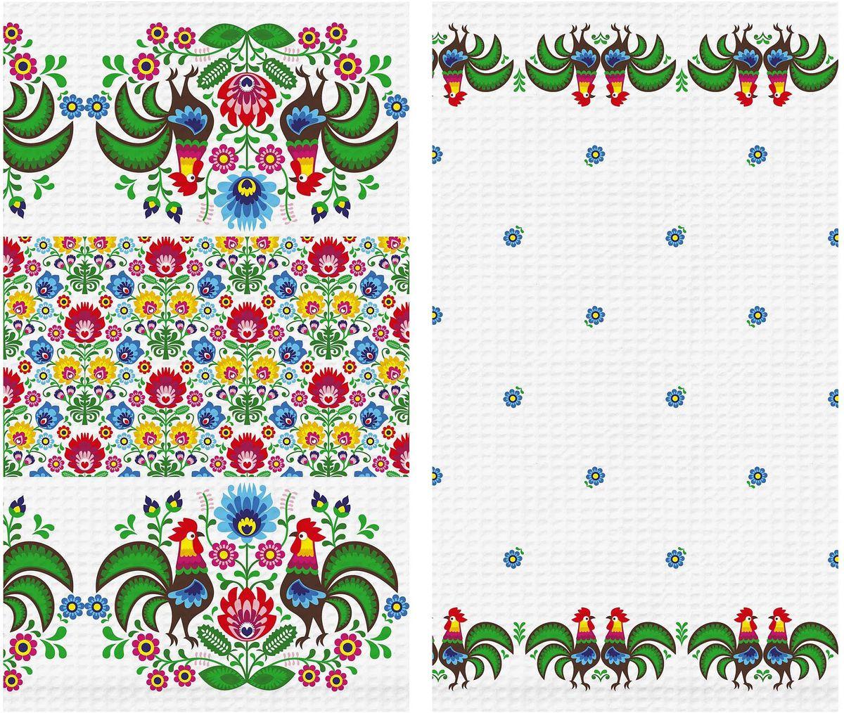 Набор вафельных полотенец Солнечный дом Петухи, 40 х 70 см, 2 шт195591