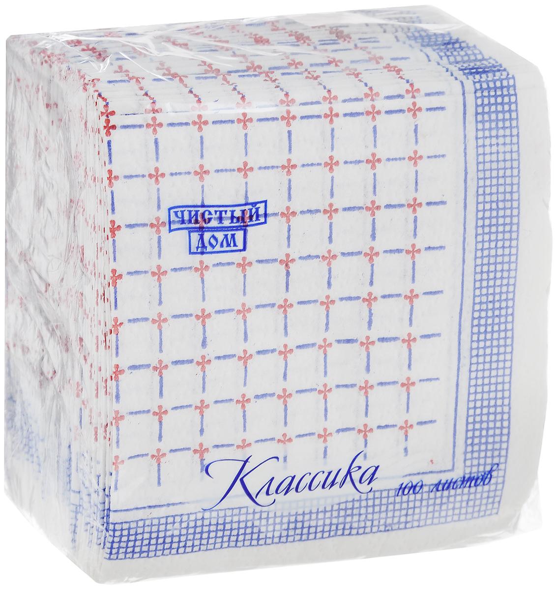 Салфетки бумажные Чистый дом Классика. Клетка, однослойные, цвет: синий, белый, красный, 25 х 25 см, 100 шт4606920000043_синий, белый, красныйОднослойные салфетки Чистый дом Классика. Клетка выполнены из 100% целлюлозы и оформлены рисунком в виде оригинальной клетки. Они подходят для косметического, санитарно-гигиенического и хозяйственного назначения. Изделия нежные и мягкие. Размер салфеток: 25 х 25 см. Количество слоев: 1.
