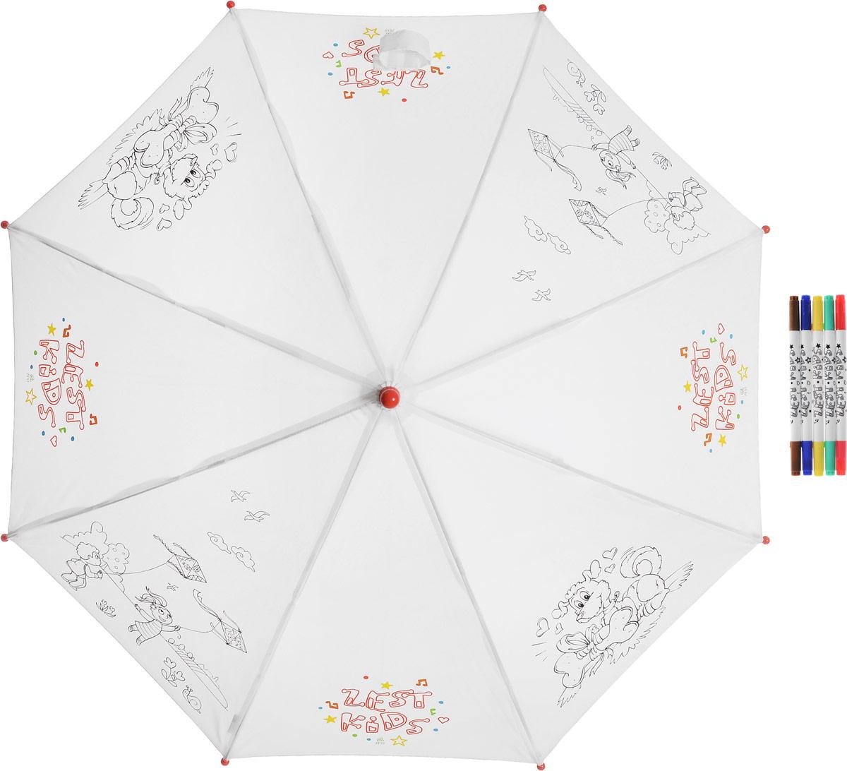 Зонт-трость детский Zest механический, цвет: белый, черный. 21581-25221581-252Детский зонт-трость для раскрашивания Zest выполнен из металла и пластика, оформлен силуэтами картинок. Картинки малыш сможет раскрасить самостоятельно фломастерами, входящими в комплект. Каркас зонта выполнен из восьми спиц, стержень из стали. На концах спиц предусмотрены пластиковые элементы, которые защитят малыша от травм. Купол зонта изготовлен прочного полиэстера. Закрытый купол застегивается на липучку хлястиком. Практичная глянцевая рукоятка закругленной формы разработана с учетом требований эргономики и выполнена из пластика. Зонт-раскраска будет приятным подарком, который не только защитит малыша от непогоды, но и даст возможность стать настоящим маленьким художником.