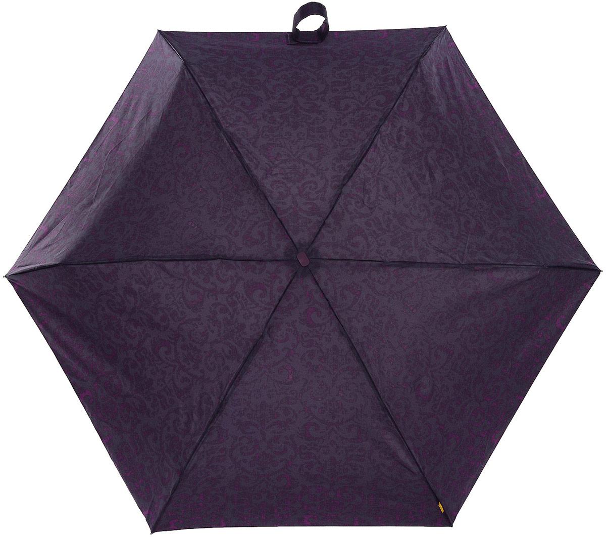 Зонт женский Zest, механический, 5 сложений, цвет: фиолетовый, серый. 25518-325Пуссеты (гвоздики)Компактный женский зонт Zest выполнен из металла, пластика и оформлен ярким принтом.Каркас зонта выполнен из шести спиц на прочном стержне. На концах спиц предусмотрены металлические элементы, которые защитят владельца от травм. Купол зонта изготовлен прочного полиэстера. Закрытый купол застегивается на липучку хлястиком. Практичная рукоятка закругленной формы разработана с учетом требований эргономики и выполнена из пластика.Зонт складывается и раскладывается механическим способом.Такой зонт не только надежно защитит от дождя, но и станет стильным аксессуаром.