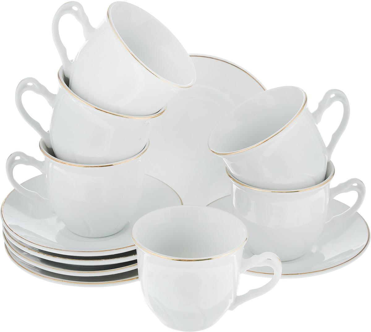 Набор кофейный Loraine, 12 предметов. 2560725607Кофейный набор Loraine состоит из 6 чашек и 6 блюдец. Изделия выполнены из высококачественного фарфора и имеют белый цвет с золотым декором. Такой набор прекрасно подойдет как для повседневного использования, так и для праздников. Набор Loraine - это не только яркий и полезный подарок для родных и близких, а также великолепное дизайнерское решение для вашей кухни или столовой. Набор упакован в подарочную коробку. Диаметр чашки (по верхнему краю): 6,5 см. Высота чашки: 5,5 см. Диаметр блюдца (по верхнему краю): 11 см. Высота блюдца: 1,5 см. Объем чашки: 90 мл.