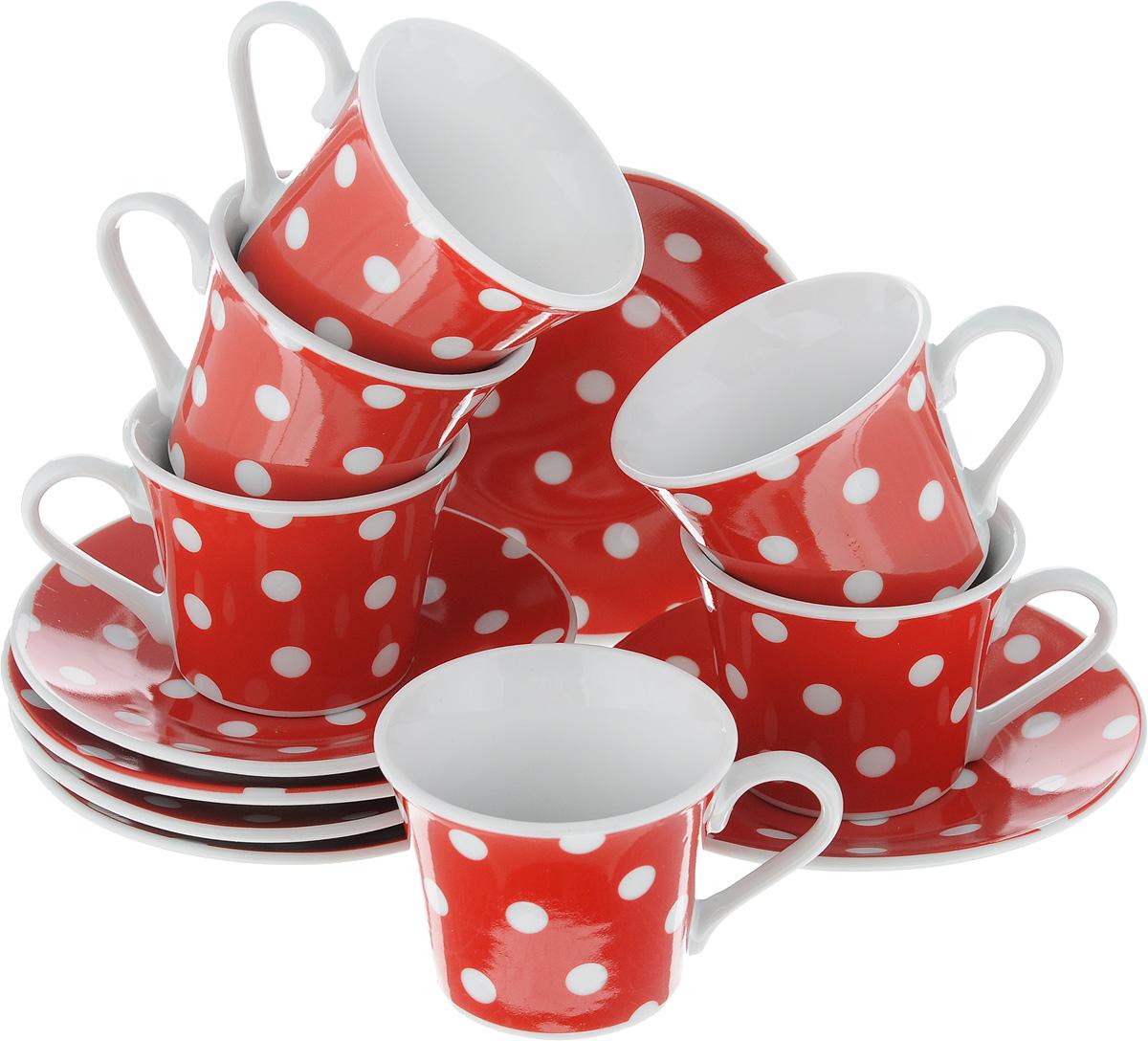 Набор кофейный Loraine Горох, 12 предметов4195Кофейный набор Loraine Горох состоит из 6 чашек и 6 блюдец. Изделия выполнены из высококачественного фарфора, имеют яркий дизайн и классическую круглую форму. Такой набор прекрасно подойдет как для повседневного использования, так и для праздников. Набор Loraine Горох - это не только яркий и полезный подарок для родных и близких, а также великолепное дизайнерское решение для вашей кухни или столовой. Набор упакован в подарочную коробку. Диаметр чашки (по верхнему краю): 6,2 см. Высота чашки: 5,2 см. Диаметр блюдца (по верхнему краю): 11 см. Высота блюдца: 1,5 см. Объем чашки: 80 мл.