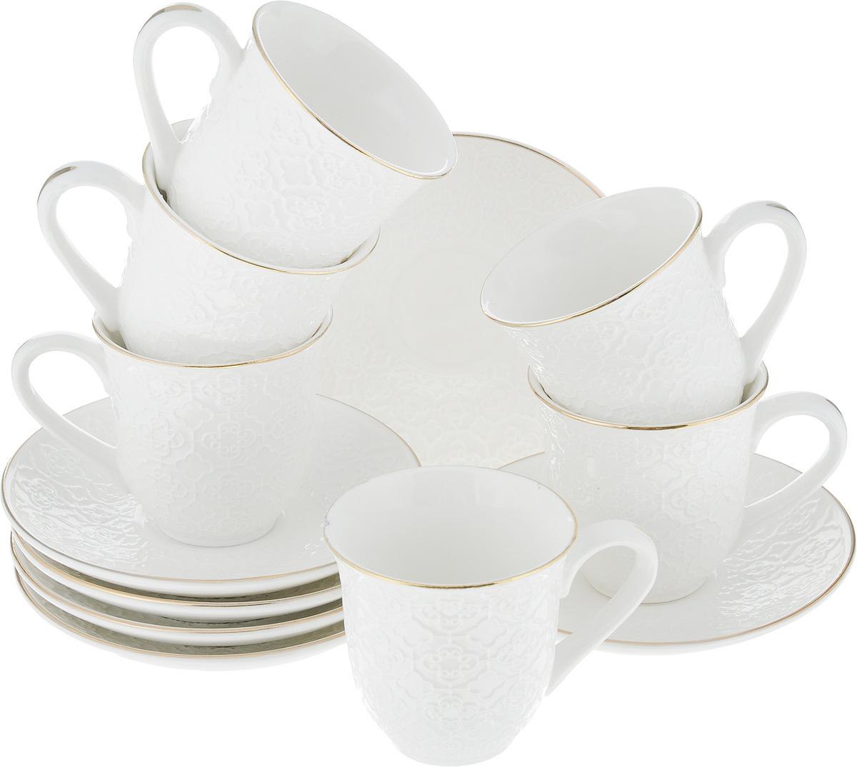 Набор кофейный Loraine, 12 предметов. 25769115510Кофейный набор Loraine состоит из 6 чашек и 6 блюдец. Изделия выполнены из высококачественного костяного фарфора и оформлены золотистой каймой. Такой набор станет прекрасным украшением стола и порадует гостей изысканным дизайном и утонченностью. Набор упакован в подарочную коробку, задрапированную внутри белой атласной тканью. Каждый предмет надежно зафиксирован внутри коробки. Кофейный набор Loraine идеально впишется в любой интерьер, а также станет идеальным подарком для ваших родных и близких. Объем чашки: 90 мл. Диаметр чашки (по верхнему краю): 6,2 см. Высота чашки: 6 см. Диаметр блюдца (по верхнему краю): 11,2 см. Высота блюдца: 2 см.