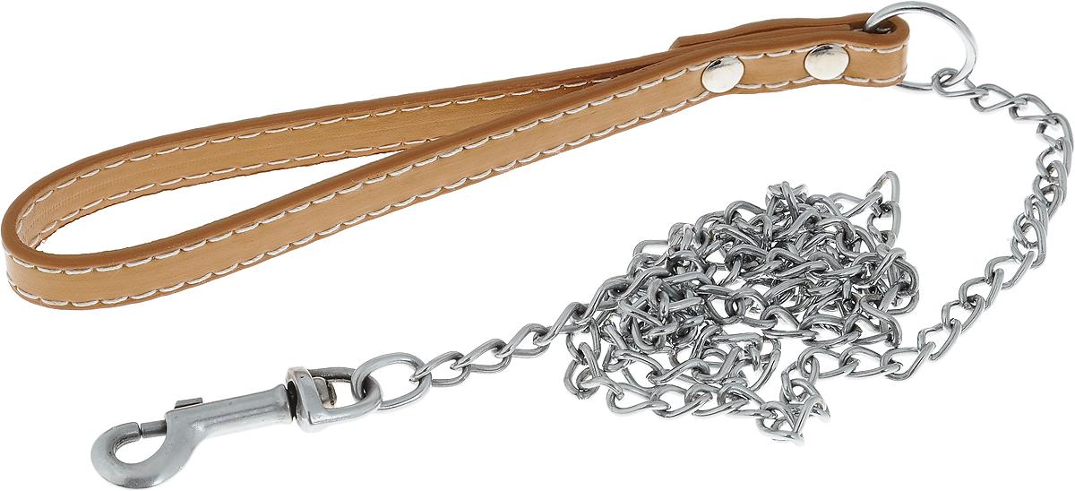Поводок-цепь для собак Dezzie, цвет: бежевый, серебристый, толщина 1,6 мм, длина 120 см5601014_бежевый, серебристыйПоводок-цепь для собак Dezzie - это удобная и качественная амуниция из хромированной стали и натуральной кожи. Поводок прост в использовании. Он поможет удерживать энергичного питомца во время прогулки, не навредив при этом его здоровью. Изделие пристегивается к ошейнику с помощью встроенного карабина. Такой поводок смотрится элегантно, идеально подходит для дрессировки и создан так, чтобы не причинить питомцам дискомфорта. Длина поводка: 120 см. Толщина цепи: 1,6 мм.