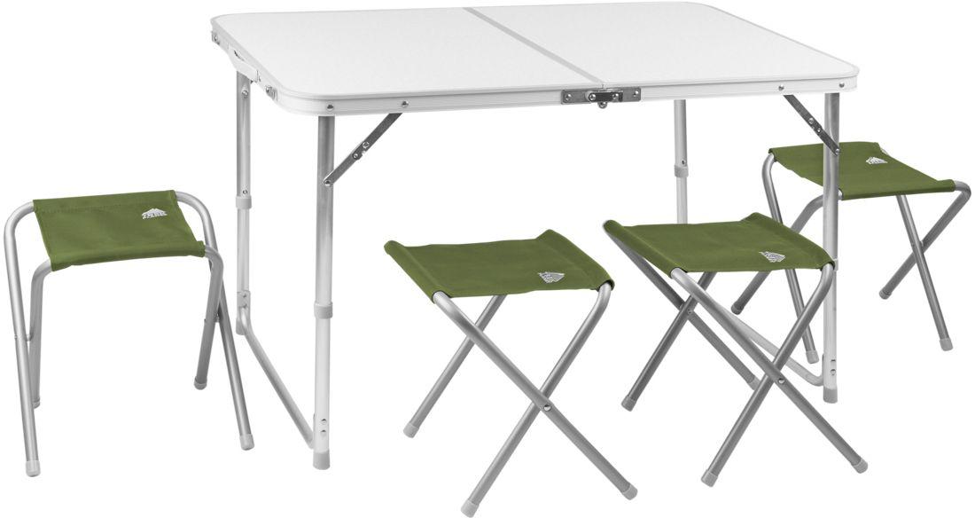 Набор складной мебели Trek Planet Event Set 95, кемпинговый, 95 х 61 х 60 см, 5 предметов50355Комплект складной мебели для семейного отдыха на природе, состоящий из стола и 4-х стульев Event Set 95 не займет много места в машине.Если поверхность не очень ровная, высоту ножек стола можно слегка отрегулировать с помощью пластиковых шайб в основании каждой ножки.В собранном виде набор не занимает много места:4 стула компактно складываются в стол, столешница складывается пополам в плоский чемоданчик с ручкой для переноски.- Набор включает стол и 4 стула- Регулируемая высота ножек стола- Стулья компактно складываются в стол- Столешница из огнеупорного пластика- Набор компактно складывается в плоский чемоданчик с ручкой для переноскиХарактеристики:Материал: Столешница: огнеупорный пластикРама: 25/19 мм алюминий с матовым покрытиемРазмер стола в разложенном виде: 95х61х60 смРазмер стула в разложеннои виде: 41х29х34 смРазмер набора в сложенном виде: 47,5х7х60смВес: 7,3 кгНагрузка на стол: 30 кгНагрузка на стул: 100 кгПроизводство: КитайАртикул: 70667