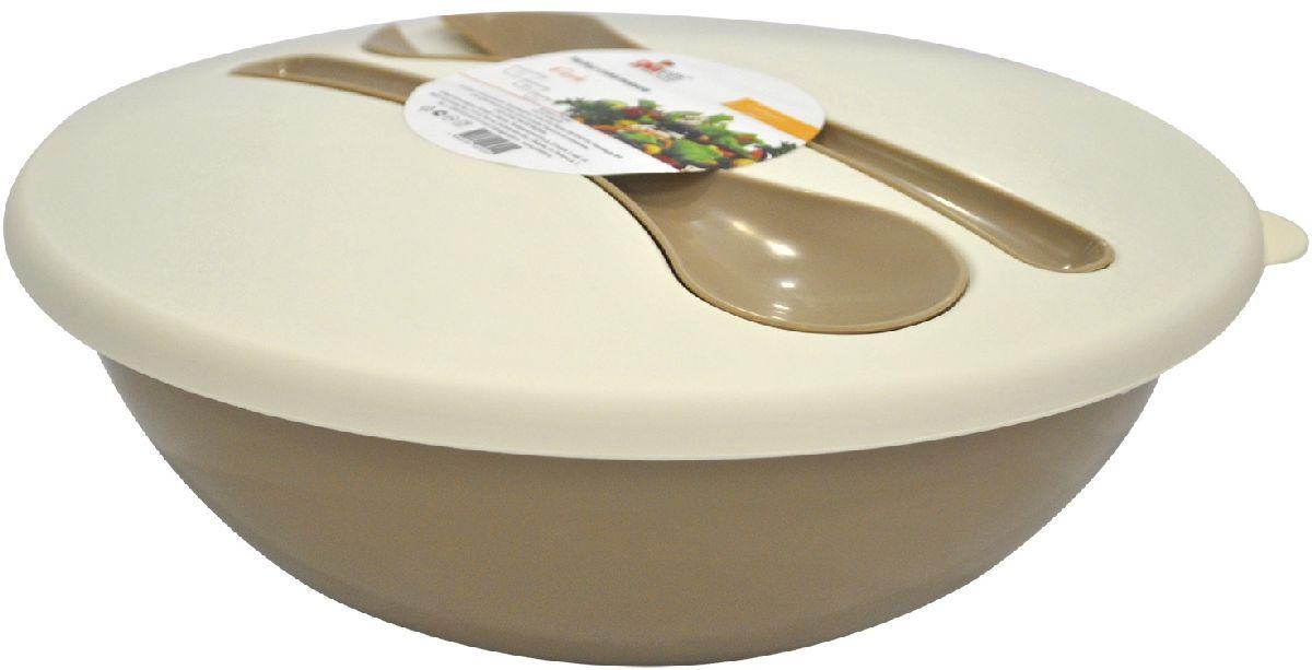 Салатник Giaretti Dolche, с крышкой и приборами, цвет: кофейный, 3 лGR1878КФНаслаждайтесь Вашим свежим салатом, ведь в нашем новом салатнике готовить его одно удовольствие. Преимущества: стильный дизайн салатника украсит любой стол и дома, и на природе; с помощью приборов, входящих в комплектацию, Вы легко размешаете Ваш салат; оптимальный объем 3 л подойдет как для большой компании, так и для семейного обеда; плотная крышка сохранит свежесть Ваших блюд. Приборы плотно крепятся на крышку, Вы не потеряете их во время хранения и переноски.