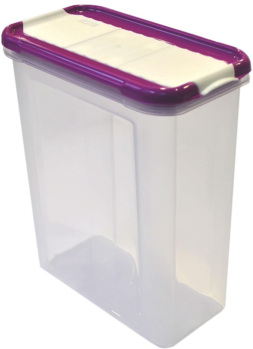 Банка для сыпучих продуктов Giaretti Krupa, с дозатором, цвет: черничный, прозрачный, 1,5 лGR2237ЧРНБанки для сыпучих продуктов предназначены для хранения круп, сахара, макаронных изделий, сладостей и т.п., в том числе для продуктов с ярким ароматом (специи и пр.). Строгая прямоугольная форма банок поможет Вам организовать пространство максимально комфортно, не теряя полезную площадь. При этом банки устанавливаются одна на другую, что способствует экономии пространства в Вашем шкафу. Плотная крышка не пропускает запахи, и они не смешиваются в Вашем шкафу. Благодаря разнообразным отверстиям в дозаторе, Вам будет удобно насыпать как мелкие, так и крупные сыпучие продукты, что сделает процесс приготовления пищи проще.