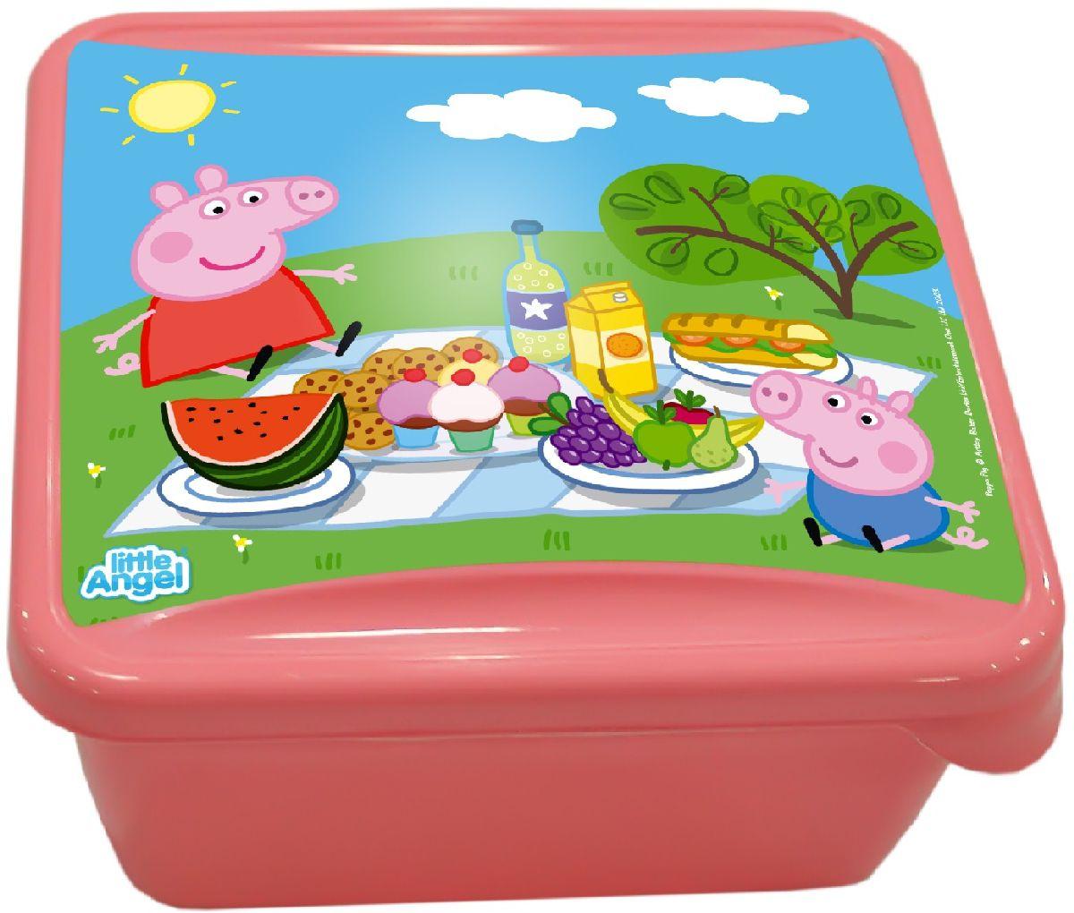 Ланч-бокс Little Angel Mini. Свинка Пеппа, цвет: розовый, 0,45 лLA1055RSНаш универсальный ланч-бокс можно использовать как для хранения пищи в холодильнике, так и для того, чтобы брать с собой перекус на работу, в школу, на прогулку. Плотная защелка предотвратит ланч-бокс от открывания.