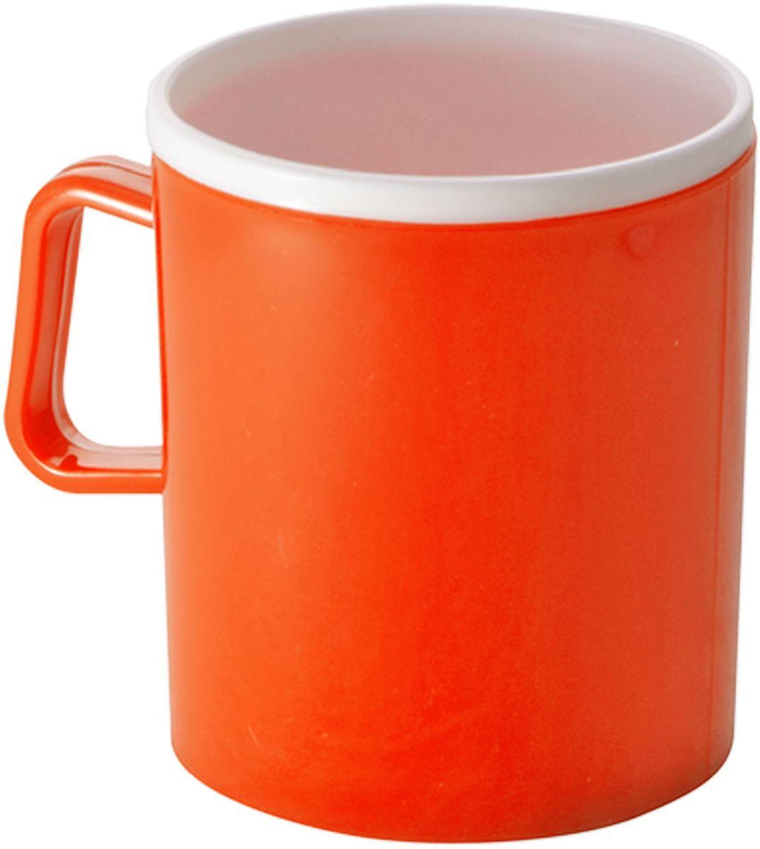 Термокружка Plastic Centre, двойная, цвет: оранжевый, 0,35 лПЦ1120МНДТермокружка с двойными стенками предназначена для горячих напитков и прекрасно сохраняет их температуру. Прочный пластик подходит для многократного использования. Легкую кружку удобно взять с собой на природу или в поездку. Объем 0,35 л.