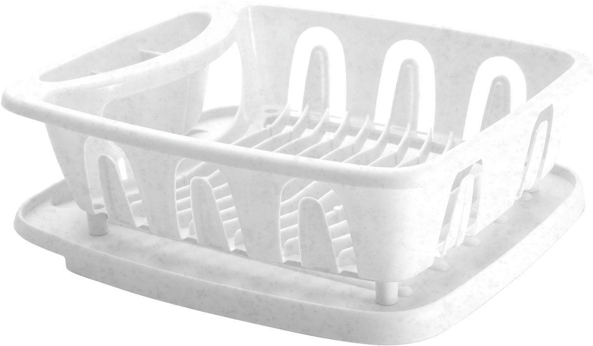 Сушилка для посуды Plastic Centre Люкс, с поддоном, цвет: мраморный, 36 х 31 х 12,5 смПЦ1556МРСушилка для посуды снабжена 2 секциями: для тарелок и столовых приборов. В комплект входит поддон для стока воды с посуды.