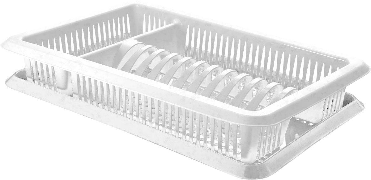 Сушилка для посуды Plastic Centre Лилия, с поддоном, цвет: мраморный, 48 х 30,5 х 8,5 смПЦ1563МРУниверсальная сушилка для посуды. В комплект входит поддон для стока воды с посуды.