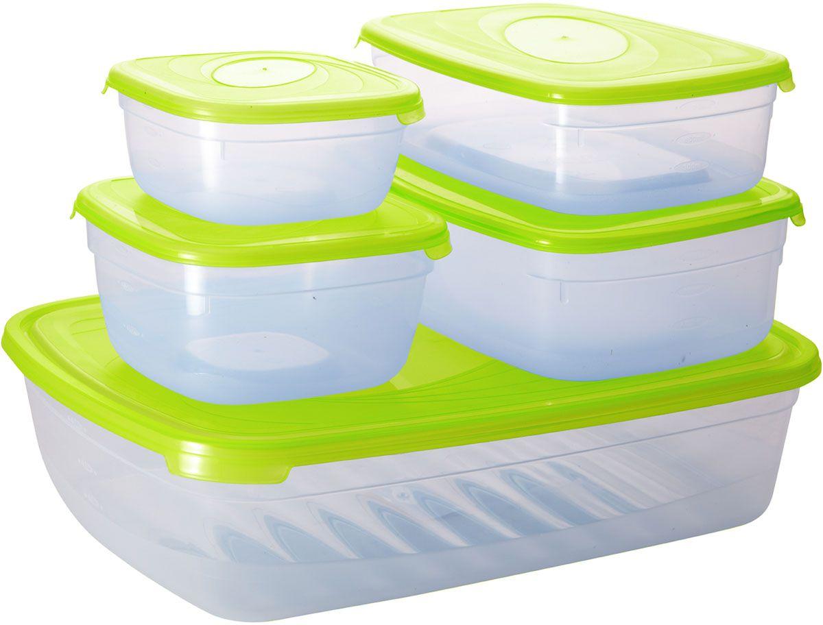 Комплект емкостей для СВЧ Plastic Centre Galaxy, цвет: светло-зеленый, прозрачный, 5 штCM000001328Комплект емкостей для СВЧ разных размеров многофункционального применения. Их можно применять как для хранения различных продуктов, так и для разогрева пищи, замораживания ягод и овощей в морозильной камере и т.п. При хранении продуктов емкости можно ставить одну на другую, сохраняя полезную площадь холодильника или морозильной камеры.Объем маленькой прямоугольной емкости: 1,2 л.Объем средней прямоугольной емкости: 1,6 л.Объем большой прямоугольной емкости: 4,85 л.Объем меньшей квадратной емкости: 500 мл.Объем большей квадратной емкости: 1 л.