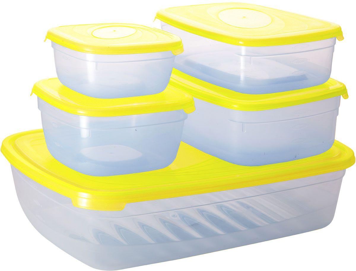 Комплект емкостей для СВЧ Plastic Centre Galaxy, цвет: желтый, прозрачный, 5 предметовПЦ2226ЛМНКомплект емкостей для СВЧ разных размеров многофункционального применения. Их можно применять как для хранения различных продуктов, так и для разогрева пищи, замораживания ягод и овощей в морозильной камере и т.п. Широкий ассортимент форм, объемов и цветов удовлетворит любой вкус и потребности. При хранении продуктов емкости можно ставить одну на другую, сохраняя полезную площадь холодильника или морозильной камеры.