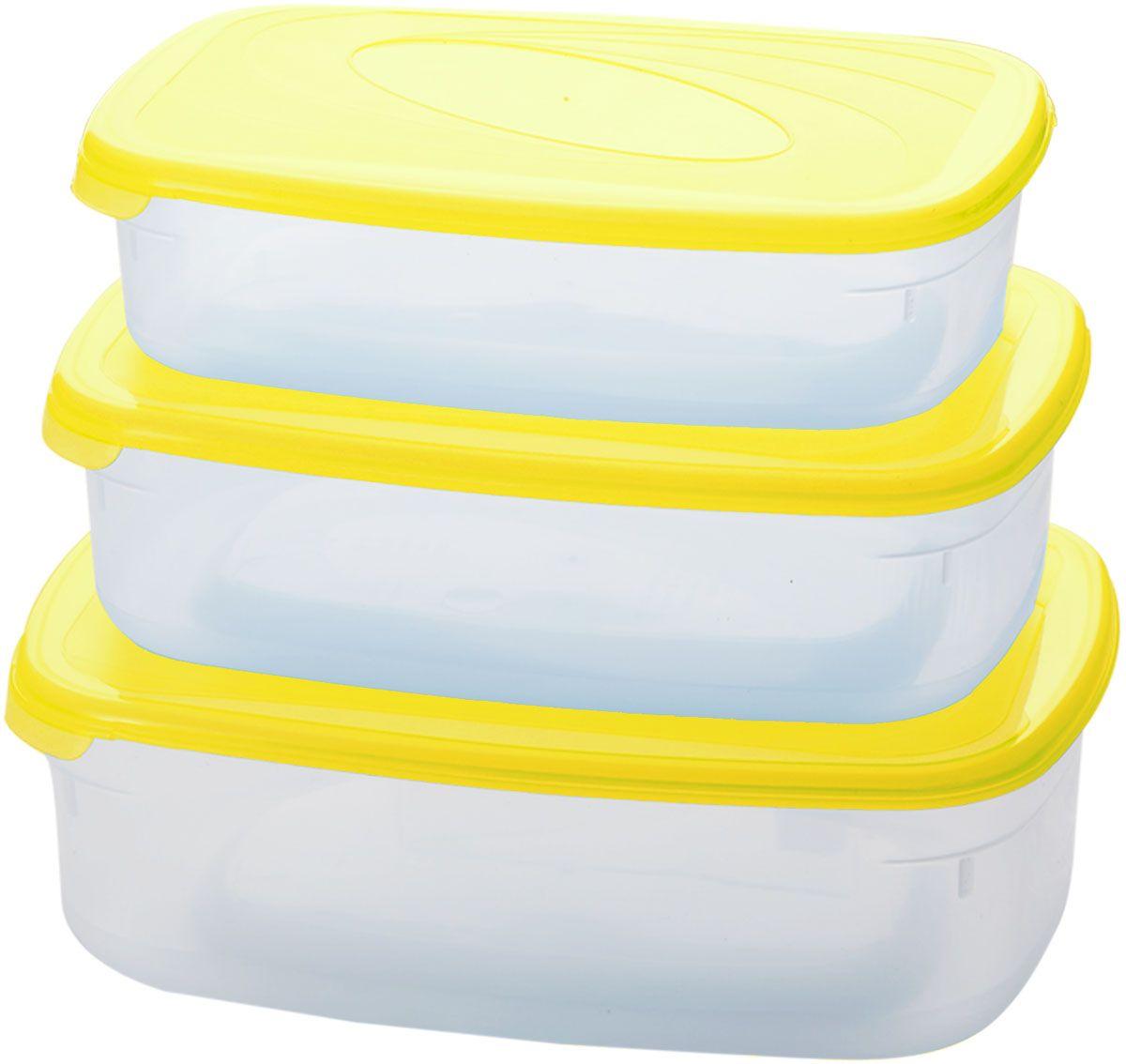 Комплект емкостей для СВЧ Plastic Centre Galaxy, цвет: желтый, прозрачный, 3 предмета. ПЦ2234ЛМНПЦ2234ЛМНКомплект емкостей для СВЧ разных размеров многофункционального применения. Их можно применять как для хранения различных продуктов, так и для разогрева пищи, замораживания ягод и овощей в морозильной камере и т.п. Широкий ассортимент форм, объемов и цветов удовлетворит любой вкус и потребности. При хранении продуктов емкости можно ставить одну на другую, сохраняя полезную площадь холодильника или морозильной камеры.