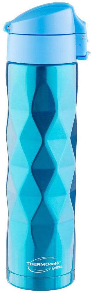 Термос Thermocafe By Thermos, цвет: голубой, 0,5 л. TTF-503-B272782Необычный рельефный 3D термос покрыт множеством выпуклых ромбов. Термос из нержавеющей стали. Пластиковая крышка-пробка снабжена фиксатором от случайного открытия, откидывается полностью и фиксируется.