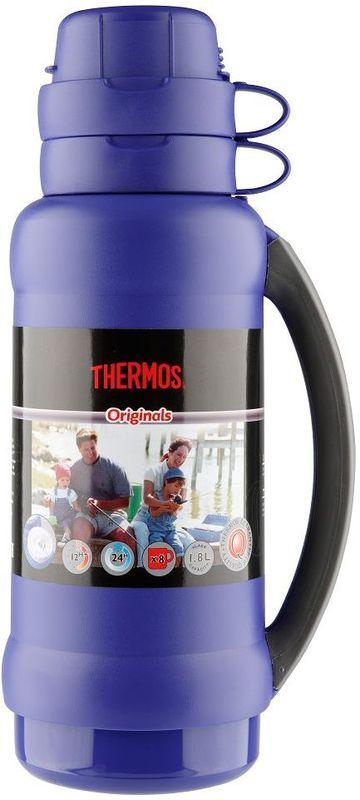 Термос Thermos, цвет: синий, 1,8 л. 273C923721Повышенная прочность стеклянной колбы. Визуальная защита от подделки - колба розового цвета. Полностью герметичен. Благодаря боковым стопперам, термос устойчив в горизонтальном положении.