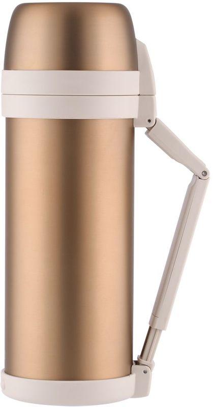 Термос Thermos, цвет: золотой матовый, 2 л. FDH-2005АМNB-503Термос из нержавеющей стали FDH предназначен для длительного сохранения температуры горячего и холодного (до 36 часов). Такие показатели достигаются благодаря технологии производства глубокого вакуума. Этот термос легок и компактен. Используется технология уменьшения веса изделия при увеличении объема внутренней колбы.Термос с комбинированным горлом предназначен для еды и напитков. Удобная в использовании стильная пробка из высококачественного пластика с откидной крышкой. Термос укомплектован дополнительной пластиковой чашкой, складной ручкой и ремнем для переноски.Объем: 2 л.