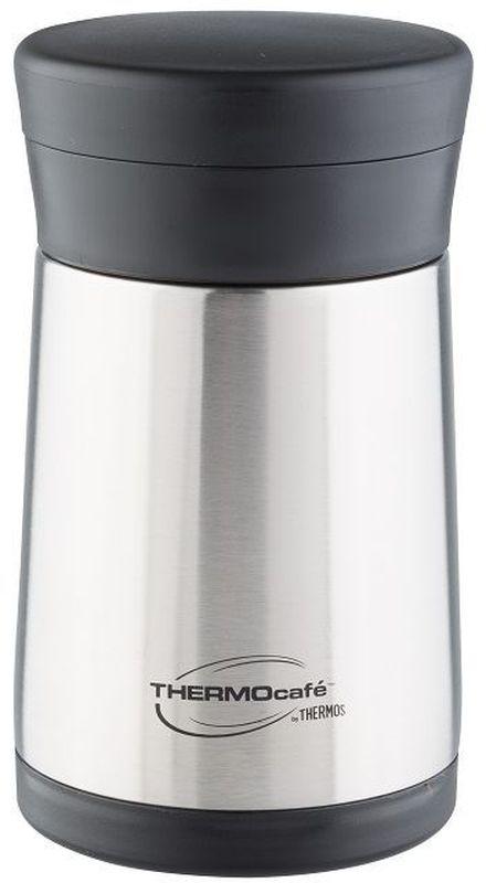 Термос Thermocafe By Thermos, цвет: стальной, 0,5 л. XC05-BK272362Модель с широким горлом предназначена для еды и напитков. Главный девиз этой модели: практичный термос по очень доступной цене. Термос из нержавеющей стали укомплектован складной пластиковой ложкой. Удобен для поездок.
