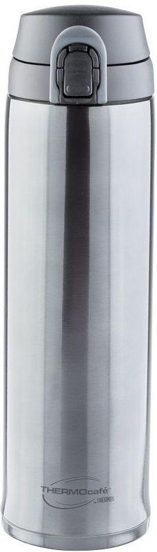 Термос Thermocafe By Thermos, цвет: темно-серый, 0,6 л. XTC-60270498Удобен для использования в автомобиле или при занятиях спортом. Крышка снабжена дополнительным фиксатором - защитой от случайного открытия. Откидывается полностью и фиксируется в открытом положении. Что дает возможность спокойно пить, не боясь получить по носу