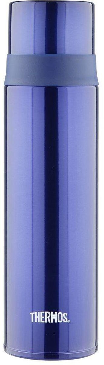 Термос Thermos, цвет: синий, 0,5 л. FFM-500934635Удобен для использования в движении, в автомобиле. Фиксатор от случайного открытия, пробка откидывается полностью и фиксируется. Чашка–крышка из нержавеющей стали позволит Вам наслаждаться своим напитком, где бы Вы ни были