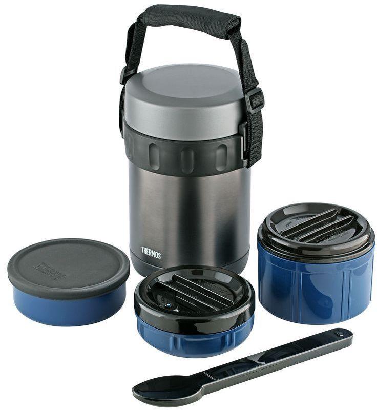Термос Thermos, цвет: темной-серый, 2 л. JBG-2000150516В набор входят термос из нержавеющей стали и высококачественные пластиковые контейнеры для трех блюд (0,4 мл, 0,8 мл и 0,4 мл). Контейнер для жидкого (первого) блюда герметичен. Набор также укомплектован ложкой из нержавеющей стали в пластиковом чехле.