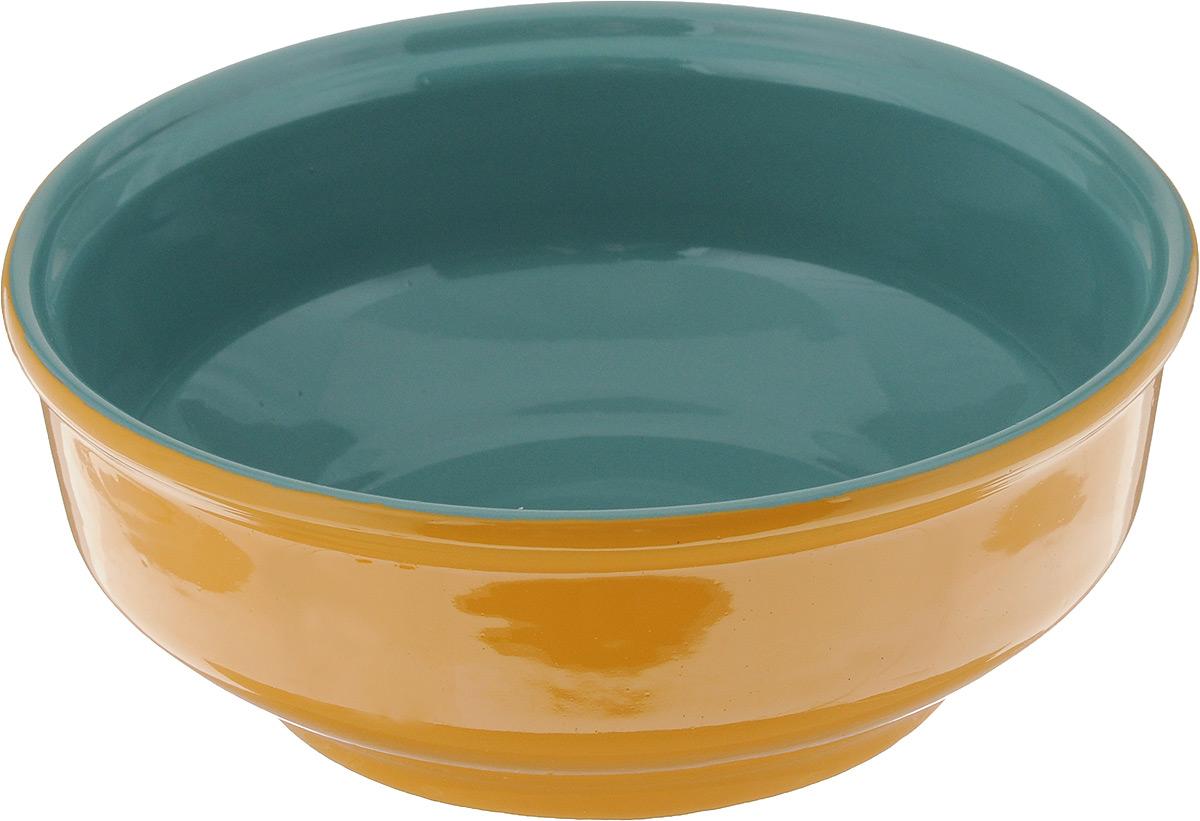 Салатник Борисовская керамика Русский, цвет: желтый, бирюзовый, 500 млРАД00000471_желтый, бирюзовыйСалатник Борисовская керамика Русский выполнен из керамики, произведенной из экологически чистой красной глины с покрытием пищевой глазурью. Изделие можно использовать для подачи супов, каш, мюсли, хлопьев с молоком, также подойдет для сервировки салатов, закусок, соусов и многого другого. Посуда Борисовская керамика подчеркнет прекрасный вкус хозяйки и станет отличным приобретением для кухни. Можно использовать в духовке и микроволновой печи. Диаметр салатника (по верхнему краю): 16 см. Высота салатника: 6 см.