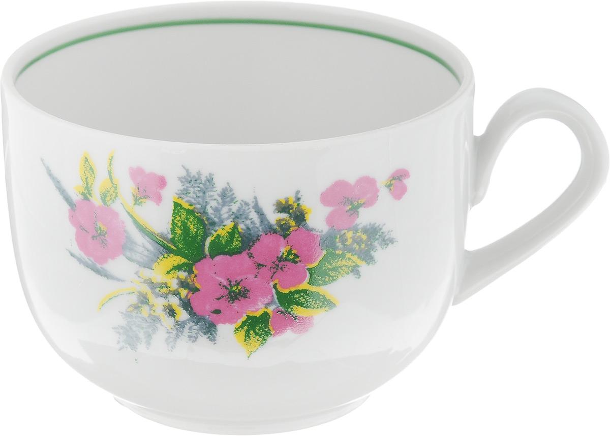 Чашка чайная Фарфор Вербилок Август. Розовые цветы, 300 мл767253К_розовые цветыЧашка Фарфор Вербилок Август. Розовые цветы способна украсить любое чаепитие. Изделие выполнено из высококачественного фарфора. Посуда из такого материала позволяет сохранить истинный вкус напитка, а также помогает ему дольше оставаться теплым. Внешние стенки дополнены красочным цветочным рисунком. Диаметр по верхнему краю: 8,5 см. Высота чашки: 6,5 см.