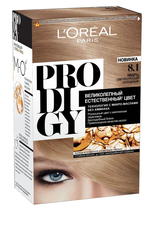 LOreal Paris Краска для волос Prodigy без аммиака, оттенок 8.1, КварцБ33041_шампунь-барбарис и липа, скраб -черная смородинаКраска для волос серии «Prodigy» совершила революционный прорыв в окрашивании волос. Новейшая технология состоит в использовании особых микромасел, которые, проникая в самый центр волоса, наполняют его насыщенным, совершенным свой чистотой цветом. Объемный цвет, полный переливов разнообразных оттенков достигается идеальной гармонией красящих пигментов. Кроме создания поразительного цвета микромасла также разглаживают поверхность волос, придавая тем самым ослепительный блеск. Равномерное окрашивание волос по всей длине, эффективное закрашивание седины и сохранение здоровой структуры волос — вот результат действия краски «Prodigy» без аммиака.В состав упаковки входит: красящий крем (60 г); проявляющая эмульсия (60 г); уход-усилитель блеска (60 мл);пара перчаток; инструкция по применению.