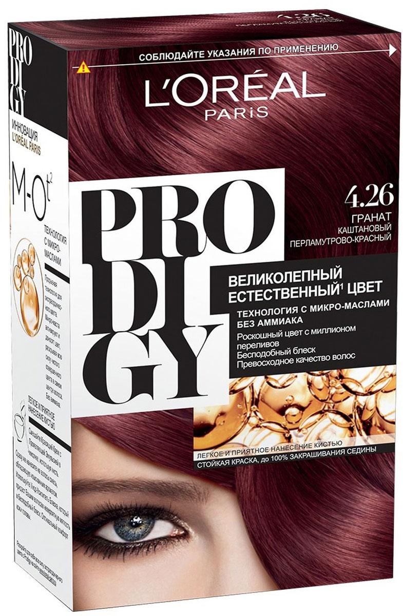 LOreal Paris Краска для волос Prodigy без аммиака, оттенок 4.26, ГранатA8881301Prodigy - инновация от Лореаль Париж - прорывная технология окрашивания с микро-маслами для экстраординарного цвета. Новая формула микро-масел с использованием ультратонких красящих пигментов позволяет создавать желаемый цвет, благодаря проникновению краски в самый центр волоса. Инновационная система микро-масел несет эффект сияющих волос за счет разглаживания их структуры по всей длине. В результате цвет получается невероятно насыщенным, с миллионами переливов различных оттенков. Совершенное и безопасное окрашивание без аммиака дает интенсивный стойкий цвет. Здоровые и безупречно гладкие волосы, которые завораживают своим зеркальным блеском и необыкновенно ярким цветом. В состав упаковки входит: красящий крем (60 г); проявляющая эмульсия (60 г); уход-усилитель блеска (60 мл); пара перчаток; инструкция по применению.