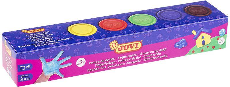 Jovi Краски пальчиковые 5 цветов 175 г540Пальчиковые краски Jovi развивают цветовосприятие, воображение, интеллект и творческие задатки ребенка. Легко смываются с кожи и отстирываются с большинства видов тканей. Гипоаллергенны, не содержат глютен. Краски имеют очень густую желеобразную консистенцию, не вытекают из баночки, позволяют набирать небольшое количество краски и экономично ее использовать. Не требуется разводить их водой. Можно рисовать руками или с помощью специальных губок и валиков Jovi. В наборе пять основных ярких чистых цветов (желтый, красный, зеленый, синий, коричневый) красок для раннего развития малыша в баночках по 35 мл. Страна производства Испания.
