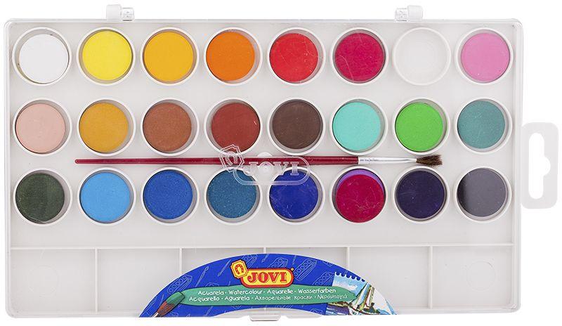 Jovi Акварель 24 цветаFS-54103Высококачественная акварель Jovi предназначена для рисования дома, в школе, в художественных студиях, подходит для разных техник рисования. Краски в коробке с кюветами для воды и кистью. Спрессованные таблетки диаметром 22 мм (вес 2,9 г) с высоким содержанием пигмента. Гораздо более экономичные, чем полусухая акварель в кюветах. Легко разводятся: при добавлении небольшого количества воды цвета получаются очень насыщенными и яркими, а увеличение количества воды приводит к эффектам, типичным для техники акварели. Хорошо ложатся на поверхность. Могут использоваться для рисования на различных поверхностях: бумаге различной плотности, картоне, для раскрашивания просохших фигурок из пасты для лепки, застывающей на воздухе, или из папье-маше. Краски отстирываются с большинства видов тканей.