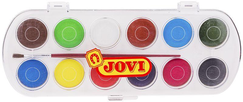 Jovi Акварель 12 цветов 830/12830/12Высококачественная акварель Jovi предназначена для рисования дома, в школе, в художественных студиях, подходит для разных техник рисования. Представлены 12 базовых цветов. Крышка одновременно может использоваться как палитра для смешивания красок, кисть в комплекте. Спрессованные таблетки диаметром 30 мм (вес 4,8 г) с высоким содержанием пигмента. Гораздо более экономичные, чем полусухая акварель в кюветах. Легко разводятся: при добавлении небольшого количества воды цвета получаются очень насыщенными и яркими, а увеличение количества воды приводит к эффектам, типичным для техники акварели. Хорошо ложатся на поверхность. Могут использоваться для рисования на различных поверхностях: бумаге различной плотности, картоне, для раскрашивания просохших фигурок из пасты для лепки, застывающей на воздухе, или из папье-маше. Краски отстирываются с большинства видов тканей.