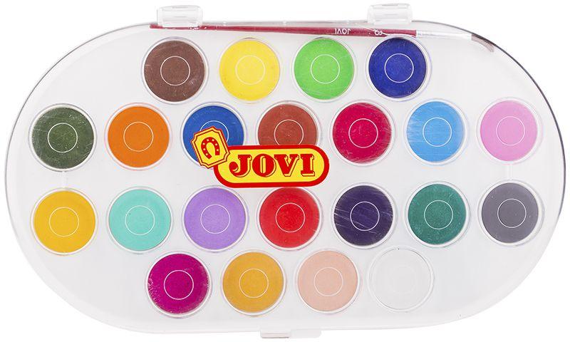 Jovi Акварель 22 цвета501027Высококачественная акварель Jovi предназначена для рисования дома, в школе, в художественных студиях, подходит для разных техник рисования. Крышка одновременно может использоваться как палитра для смешивания красок, кисть в комплекте. Спрессованные таблетки диаметром 30 мм (вес 4,8 г) с высоким содержанием пигмента. Гораздо более экономичные, чем полусухая акварель в кюветах. Легко разводятся: при добавлении небольшого количества воды цвета получаются очень насыщенными и яркими, а увеличение количества воды приводит к эффектам, типичным для техники акварели. Хорошо ложатся на поверхность. Могут использоваться для рисования на различных поверхностях: бумаге различной плотности, картоне, для раскрашивания просохших фигурок из пасты для лепки, застывающей на воздухе, или из папье-маше. Краски отстирываются с большинства видов тканей.