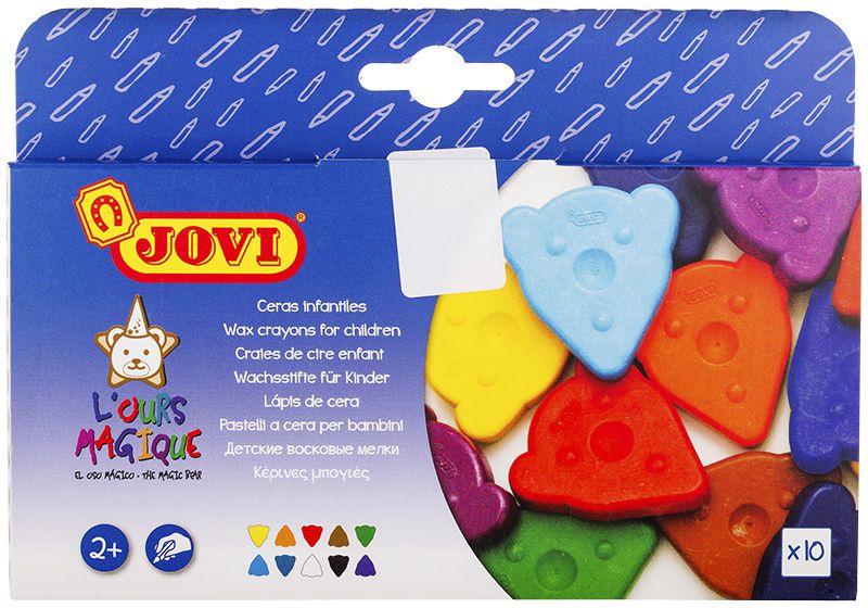Jovi Мелки восковые фигурные 10 цветов941Сертифицированы от 2х лет. Фигурные восковые мелки для малышей. Плоские треугольные мелки 40х45 мм в виде мордочки медвежонка созданы для самых маленьких детей. Игровая и при этом эргономичная форма привлекает внимание ребенка, позволяет удобно держать мелок в руке и рисовать любой его гранью или всей плоскостью, быстро покрывая большие поверхности. Мелки мягко и без усилий рисуют на любой бумаге, кроме бумаги с глянцевой поверхностью, поэтому ребенку легко будет проводить первые штрихи и линии, а также раскрашивать. Изготавливаются из натуральных растительных компонентов, таких как натуральный воск, естественные пищевые красители. Благодаря своему составу они безвредны и очень прочны. Мелки не пачкают руки, не липнут, не выпотевают, не имеют запаха, не ломаются при падении, могут стираться ластиком. 10 цветов (белый, желтый, красный, зеленый, синий, фиолетовый, оранжевый, голубой, коричневый, черный). Гипоаллергенны, не содержат глютен. Страна производства Испания.