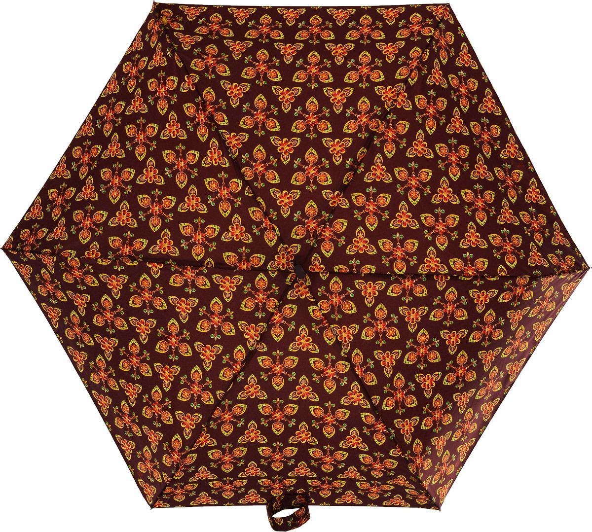 Зонт женский Zest, механический, 5 сложений, цвет: бордовый, оранжевый, желтый, зеленый. 25518-654REM9-BROWNНевероятно компактный и легкий зонт Zest имеет 5 сложений. Модель зонта складывается и раскладывается механически. Удобная ручка выполнена из пластика с прорезиненным нанесением, приятна на ощупь. В сложенном состоянии зонт занимает очень мало места, и его удобно будет носить с собой даже в маленькой сумочке. К зонту прилагается чехол.