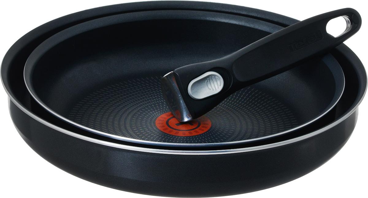 Набор сковородок Tefal Ingenio, с антипригарным покрытием, 3 предмета. 413182094672Набор Tefal Ingenio состоит из двух сковородок и съемной ручки. Посуда изготовлена из алюминия с антипригарным покрытием Powerglide, которое благодаря усовершенствованному верхнему слою обеспечивает отличные антипригарные свойства и износостойкость даже при длительном использовании. Элегантную и практичную ручку Ingenio, выполненную из бакелита, вы сможете отсоединить одним движением. Благодаря съемной ручке посуда легко и просто вкладывается друг в друга по принципу матрешки и хранится, занимая минимум места. Готовое блюдо можно не перекладывать в другую посуду, поскольку данный набор подходит и для сервировки стола. Благодаря специальной технологии Durabase устойчивое к деформации многослойное дно Diffusal обеспечивает оптимальное распределение тепла и равномерное приготовление пищи. Вся посуда Tefal имеет уникальный индикатор нагрева Thermo-Spot. Если индикатор стал равномерно красным, то дно достигло оптимальной для приготовления температуры. Можно использовать на электрических, газовых и стеклокерамических плитах. Можно мыть в посудомоечной машине. Диаметр сковороды: 24 см; 28 см.Диаметр основания сковороды: 19 см; 23 см.Высота сковороды: 5 см.Длина съемной ручки: 18 см.
