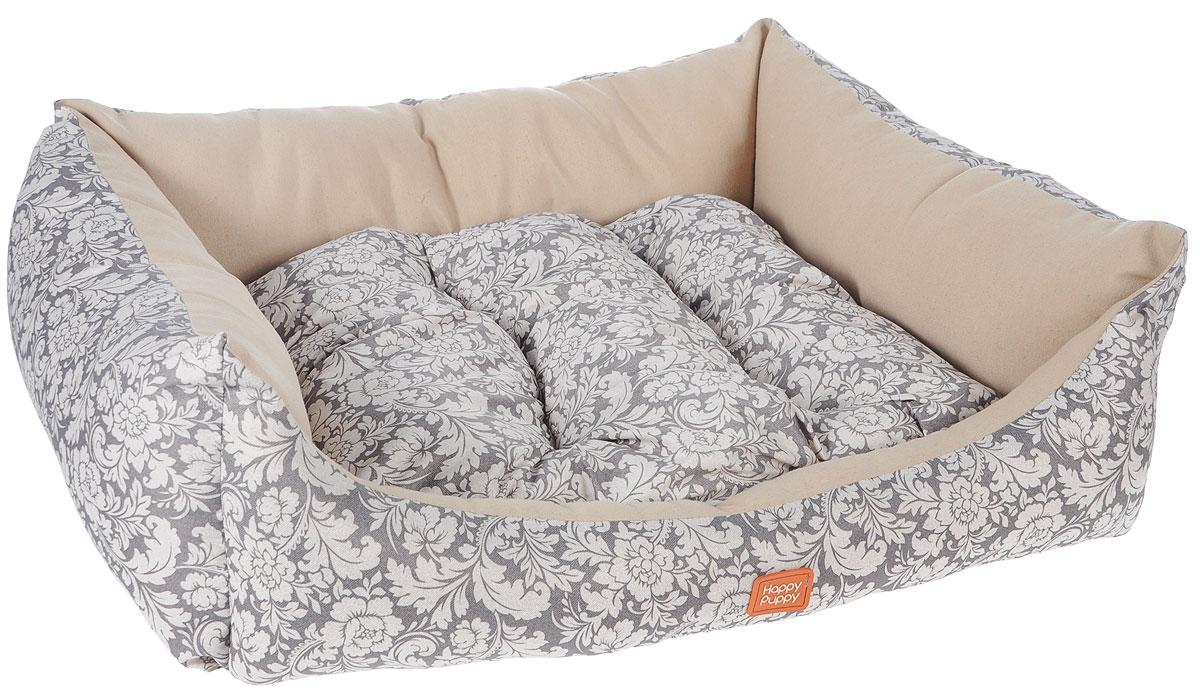 Лежак для собак Happy Puppy Ампир-3, цвет: бежевый, 57 x 44 x 15 см0120710Мягкий лежак Happy Puppy Ампир-3 обязательно понравится вашему питомцу. Он выполнен из высококачественного хлопка и полиэстера с водоотталкивающей пропиткой, а наполнитель - из мягкого холлофайбера. Такой материал не теряет своей формы долгое время.Лежак оснащен мягкой съемной подстилкой. Высокие бортики обеспечат вашему любимцу уют. За изделием легко ухаживать, его можно стирать вручную. Мягкий лежак станет излюбленным местом вашего питомца, подарит ему спокойный икомфортный сон, а также убережет вашу мебель от шерсти. Размер: 57 x 44 x 15 см.