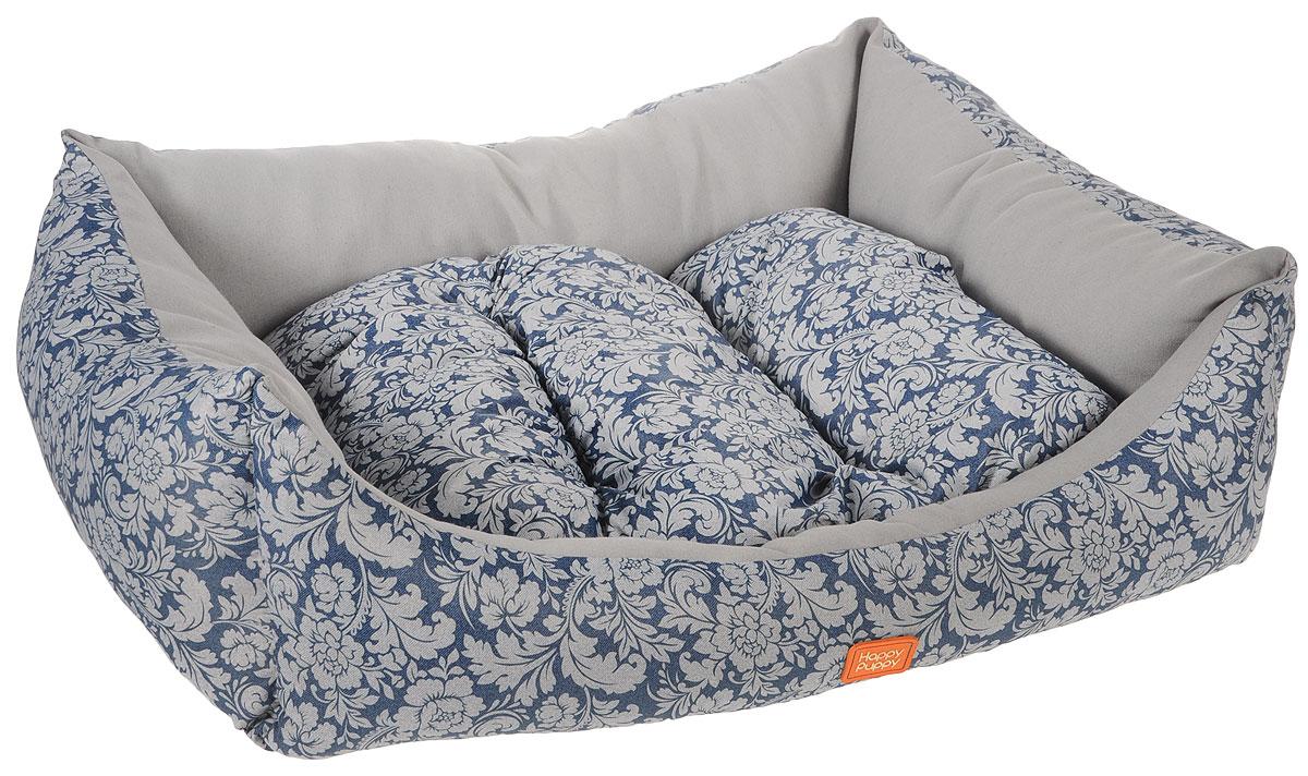 Лежак для собак Happy Puppy Ампир-3, цвет: серый, синий, 57 x 44 x 15 смHP-150073-3Мягкий лежак Happy Puppy Ампир-3, изготовлен в цветочном дизайне. Лежак выполнен из полиэстера и хлопка, а наполнитель - из мягкого холлофайбера. Такой материал не теряет своей формы долгое время. Лежак оснащен мягкой съемной подстилкой. Высокие бортики обеспечат вашему любимцу уют. За изделием легко ухаживать, его можно стирать вручную. Мягкий лежак станет излюбленным местом вашего питомца, подарит ему спокойный и комфортный сон, а также убережет вашу мебель от шерсти. Размер: 57 x 44 x 15 см.