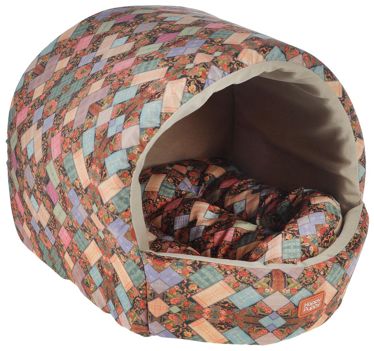 Домик для собак Happy Puppy Лукоморье, 37 x 37 x 40 смHP-160066Домик для собак Happy Puppy Лукоморье обязательно понравится вашему питомцу. Он предназначен для собак мелких пород и изготовлен из полиэстера и искусственной замши, внутри - мягкий наполнитель из мебельного поролона. Стежка надежно удерживает наполнитель внутри и не позволяет ему скатываться. Домик очень удобный и уютный, он оснащен мягкой съемной подстилкой с наполнителем из холлофайбера. Ваш любимец сразу же захочет забраться внутрь, там он сможет отдохнуть и спрятаться. Компактные размеры позволят поместить домик, где угодно, а приятная цветовая гамма сделает его оригинальным дополнением к любому интерьеру. Размер подстилки: 37 х 37 х 40 см. Внутренняя высота домика (с учетом подстилки): 27 см. Толщина стенки: 3 см.