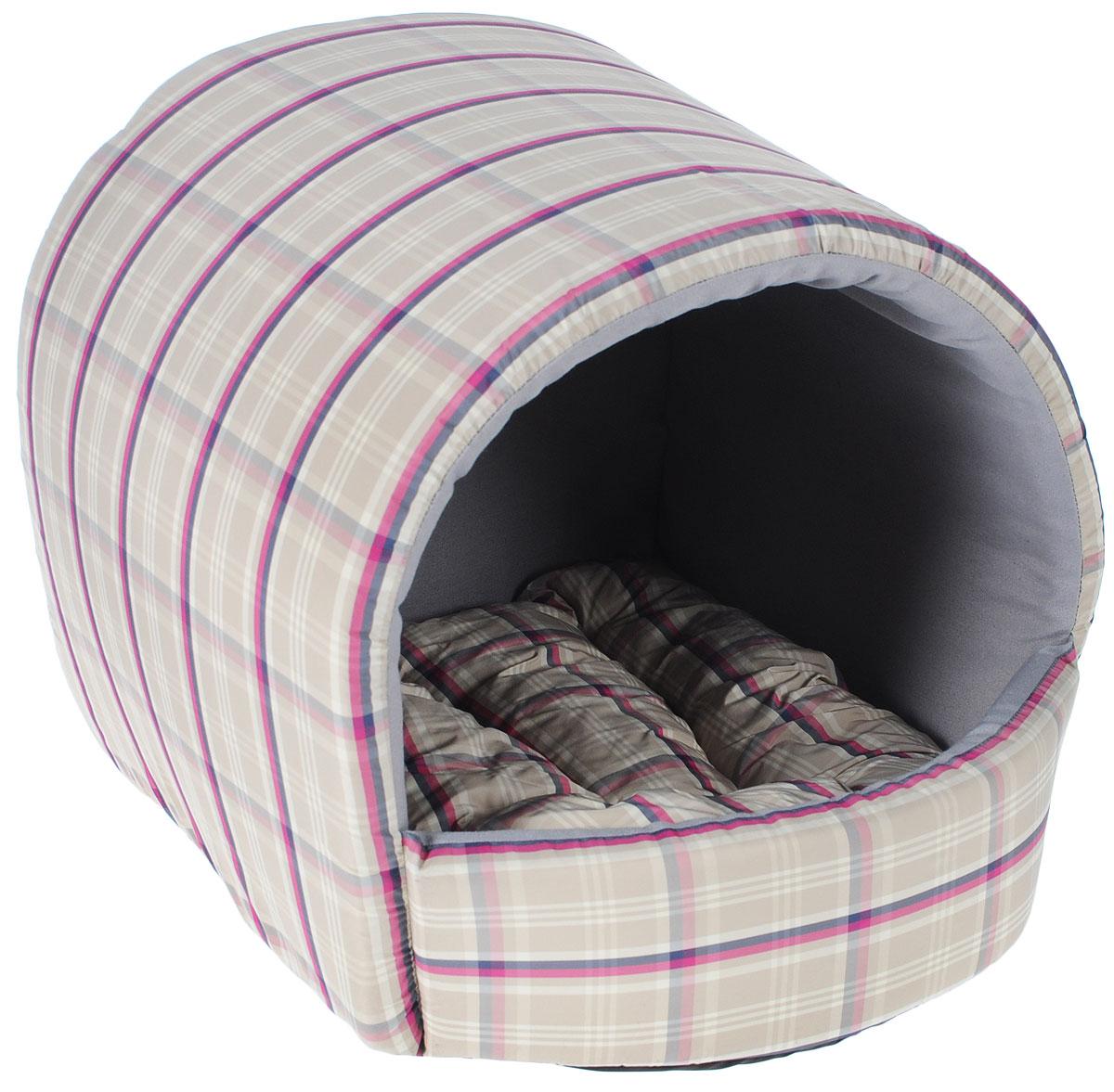Домик для собак Happy Puppy Комфорт, 37 x 37 x 40 см0120710Домик для собак Happy Puppy Комфорт обязательно понравится вашему питомцу. Он предназначен для собак мелких пород и изготовлен из полиэстера с водоотталкивающей пропиткой, внутри -мягкий наполнитель из мебельного поролона.Стежка надежно удерживает наполнитель внутри и не позволяет ему скатываться. Домик очень удобный и уютный, он оснащен мягкой съемной подстилкой с наполнителем из холлофайбера. Ваш любимец сразу же захочет забраться внутрь, там он сможет отдохнуть и спрятаться. Компактные размеры позволят поместить домик, где угодно, а приятная цветовая гамма сделает егооригинальным дополнением к любому интерьеру. Размер подстилки: 37 х 37 х 40 см.Внутренняя высота домика (с учетом подстилки):27 см. Толщина стенки: 3 см.