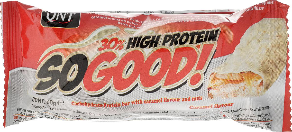 QNT Шоколадный батончик Кью Эн Ти СоГуд, Шоколад карамель, 60 гQNT1128SO GOOD BAR - это великолепный протеиновый батончик на молоке, который позволит Вам насладиться прекрасным сочетанием карамели и арахиса. Батончик очень сочный и содержит 30% сывороточного белка наряду со сбалансированной питательной ценностью.