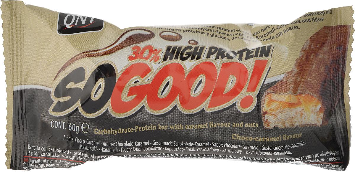 QNT Шоколадный батончик Кью Эн Ти СоГуд, Карамель, 60 гQNT1127SO GOOD BAR - это великолепный протеиновый батончик на молоке, который позволит Вам насладиться прекрасным сочетанием карамели и арахиса. Батончик очень сочный и содержит 30% сывороточного белка наряду со сбалансированной питательной ценностью.