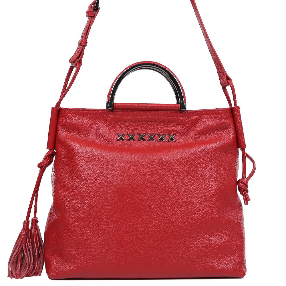 Сумка женская Galaday, цвет: красный. GD7088Q3-47670-00504Элегантная женская сумка Galaday изготовлена из качественной натуральной кожи. Модель с одним отделением закрывается на застежку-молнию. Внутри имеются дополнительные карманы и карман-средник на молнии. Сумка оснащена удобными ручками и плечевым ремнем, который можно регулировать по длине.
