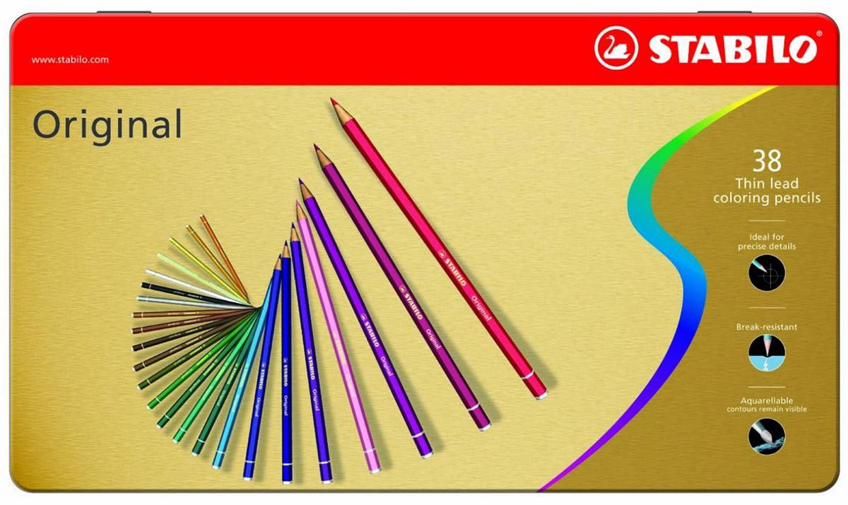 STABILO Набор цветных карандашей с тонким грифелем Original 38 цветовPP-220Все творческие натуры хотят иметь в своем распоряжении только лучшее. Представленный STABILO ассортимент и очень широкая палитра цветов способны удовлетворить самые разные потребности сторонников всевозможных техник рисования. Высококачественные, насыщенные красители гарантируют тонкую проработку цвета. все карандаши обеспечивают легкую смешиваемость красок, мягкие, однородные по цвету линии. Высокая степень пигментации гарантирует особую яркость цвета и исключительную покрывающую способность даже на темном фоне, а также высокую устойчивость к свету. Краски STABILO не блекнут со временем. Светоустойчивость карандашей обозначается различным количеством звездочек на корпусе: от 5 звездочек - высокая степень светоустойчивости до 1 звездочки - достаточная светоустойчивость.