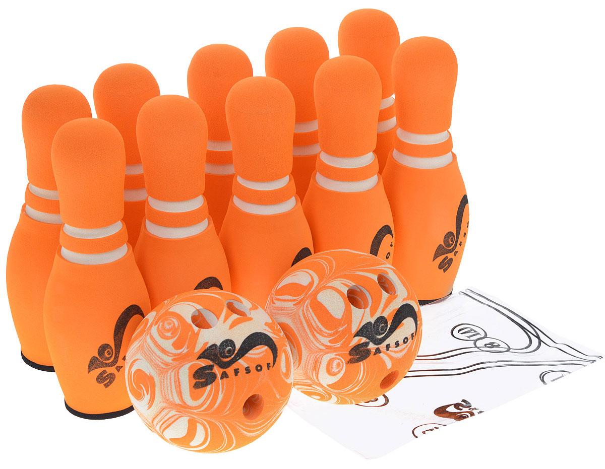Safsof Игровой набор Боулинг цвет белый оранжевый диаметр шара 15,5 см