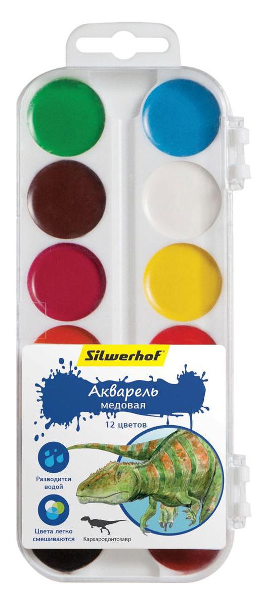 Silwerhof Акварель медовая Динозавры 12 цветовPP-001Медовая акварель Silwerhof позволит вашему малышу проявить весь свой творческий потенциал.В наборе - двенадцать разноцветных красок. Они прекрасно подходят для детского творчества и декоративных работ по холсту, бумаге и картону. Краски мягко ложатся на бумагу, оставляя яркий и четкий цвет. Они непременно порадуют юного художника своим качеством и насыщенностью цвета, а красочная коробочка поднимет ребенку настроение!Состав: декстрин, глицерин дистиллированный, сахар, мел, пигменты, консервант, вода питьевая.